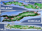 Map of peninsula Peljesac and islands Korcula and Mljet west of Dubrovnik